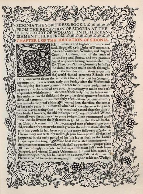 Una de las páginas de Sidonia the Sorceress de William Meinhold (1893). Obsérvese el esmerado trabajo de ornamentación lateral y para la letra capital.