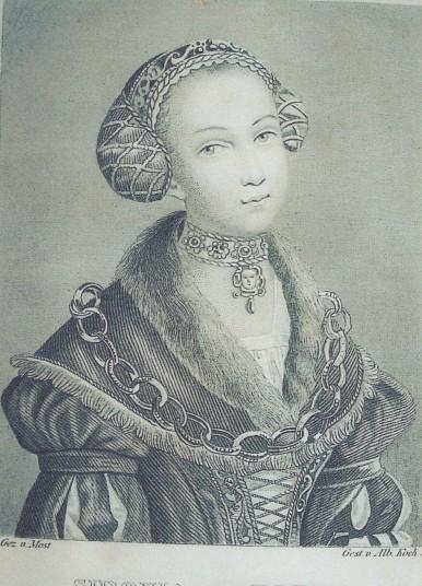 Retrato de Sidonia von Bork, que ilustra el libro Sidonia von Bork die Klosterhexe, angebliche Vertilgerin des gesammtenherzoglich-pommerschen Regentenhauses., de Wilhelm Meinhold (1848).