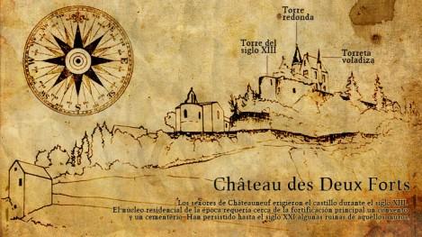 Reconstrucción del castillo de dos fuertes, aparecida en uno de los libros que mencionan la leyenda.