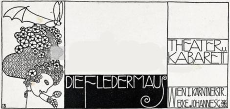 Sobre para cartas del Teatro y Cabaret Fledermaus, Viena, 1907. Imagen y tipografía de Bertold Löffler.