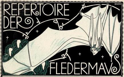 Cabaret Fledermaus, detalle de la portada de un libro de notaciones musicales, litografía por Josef von Diveky, (enero, 1910). © de la imagen: Imagno/Getty Images.