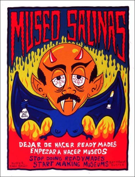 Afiche oficial del museo Salinas, 1996. Vicente Razo y Rolo Castillo, serigrafía sobre papel. © Vicente Razo.